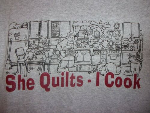 QUILTING She Quilts I Cook gray XL t shirt