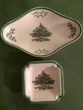Spode Christmas tree pickle dish and ash tray/spoon rest dishes S3324 C/D
