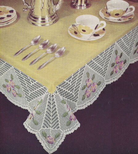 Vintage Crochet PATTERN to make Filet Pansy Flower Tablecloth Panel Edging Motif