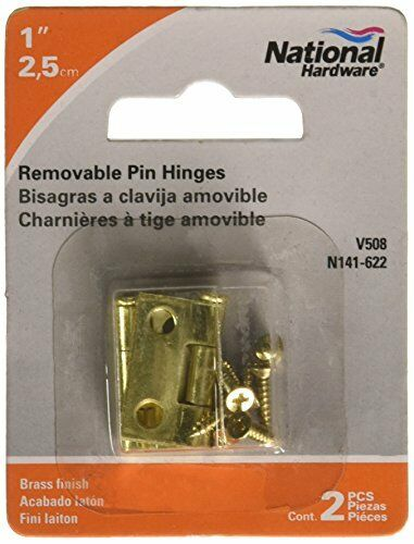 National Hardware V508 1 Removable Pin Hinge in Brass