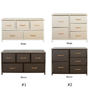 Fabric Chest of Drawers Dresser 5 Drawer Furniture Bedroom Cabinet Storage