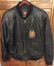 Official All Star Cafe Honolulu Black Leather Bomber Varsity Jacket Men XL Rare