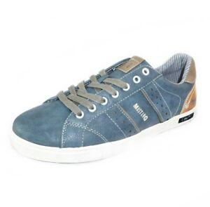 MUSTANG-SHOES-Herren-Sneaker-Low-Top-Halbschuhe-Schnuerer-Blau-810-petrol
