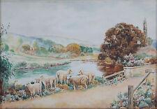Antique English Countryside Watercolor Painting Sheep at Bridge Signed Vicars