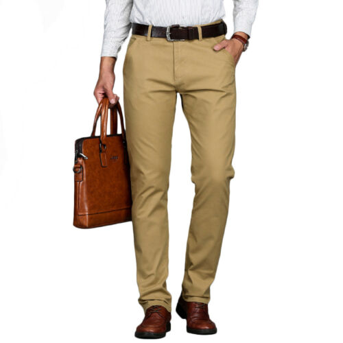 Mens Formal Business Pants Casual Stretch Trousers Straight Pants Plus Size28-46
