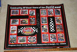 NASCAR-SAM-BASS-20-YEARS-OF-COKE-600-PROGRAMS-26-X-30-SIGNED-COLOR-POSTER-2004