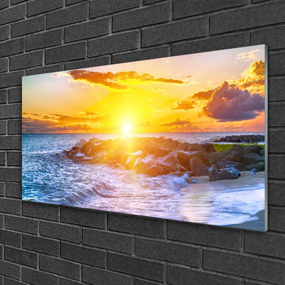 Image sur verre Tableau Impression 100x50 Paysage Mer Soleil