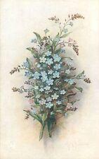 Postcard: Vintage Floral repro print - Forget-me-Not, Lilacs - blue, lavender