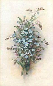 Postcard-Vintage-Floral-repro-print-Forget-me-Not-Lilacs-blue-lavender