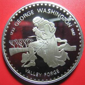 1982-LESOTHO-10-MALOTI-SILVER-PROOF-GEORGE-WASHINGTON-VALLEY-FORGE-M-4-200-COINS