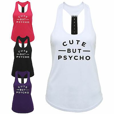 Cute But Psycho Ladies Strap Back Vest Funny Slogan Gym Workout Exercise Top