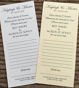 Wedding Advice Best Wishes Words of Wisdom Favour Cards Favor ...