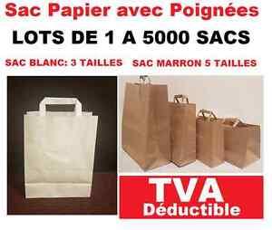 ebe6649a24 sac papier avec poignées solide et résistant blanc ou marron lot de ...