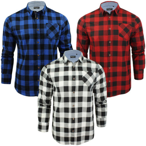 Mens Shirt Brave Soul Brushed Cotton Winter Long Sleeve Check Shirt Casual Top