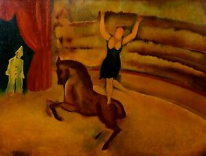 Circus-scene-with-horse-oil-on-tablex-signed-Celso-press-spain-twentieth