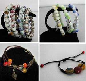 Armband-Perlen-Keramik-Blumen-Feder-Charm-Damen-NEU