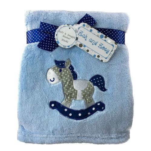 New Baby Blanket Fleece Boy Girl Crib Rocking Horse Stars Cow Bear Zak and Zoey
