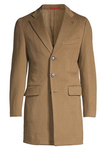 Isaia Colorado Classic-Fit Wool Topcoat (Camel, Me