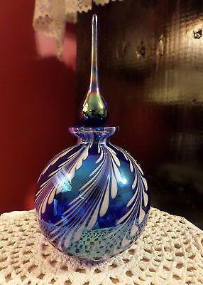 Blown Blue Opalescent / Iridescent Perfume Bottle Blue Carnival Art Glass