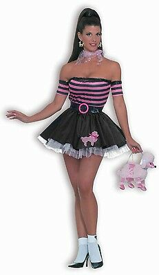 Womens Sexy Poodle Costume 50s Greaser Skirt Fancy Dress Pink Rockabily Adult