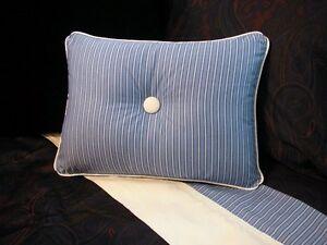 NEW-Custom-Ralph-Lauren-Driver-Stripe-Accent-Pillow-1-Button-White-Piping