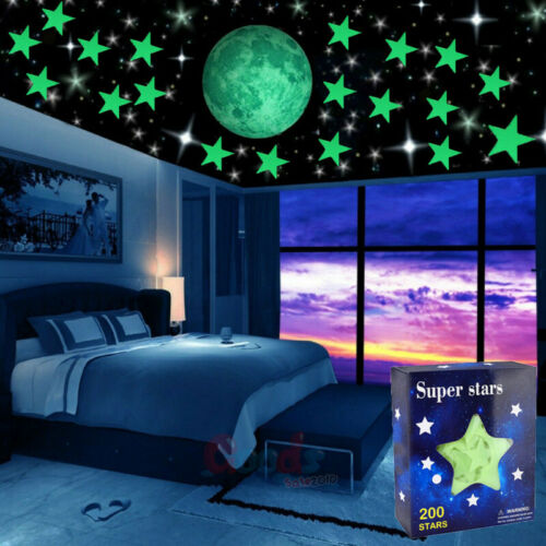 400x Glow in The Dark Stars and Moon Wall Stickers for Ceiling Home Decoration