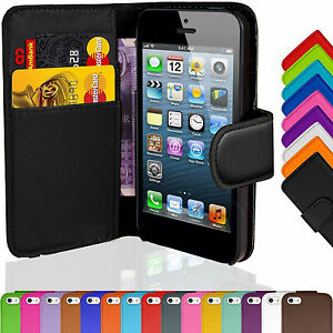 Flip-Wallet-Leather-Case-Cover-Stand-For-Apple-iPhone-5-5S-6-6s-Plus-Colours