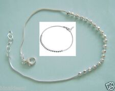 925 Sterling Silver Small Round Bead Ball Snake Chain ANKLET Bracelet B'Day GIFT