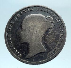 1860-UK-Great-Britain-United-Kingdom-QUEEN-VICTORIA-Shilling-Silver-Coin-i78302