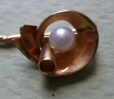 EPINGLE  CRAVATE-TIE-STICK PIN-GOLD-OR 18 k -PERLE DE CULTURE-PEARL-année 1940