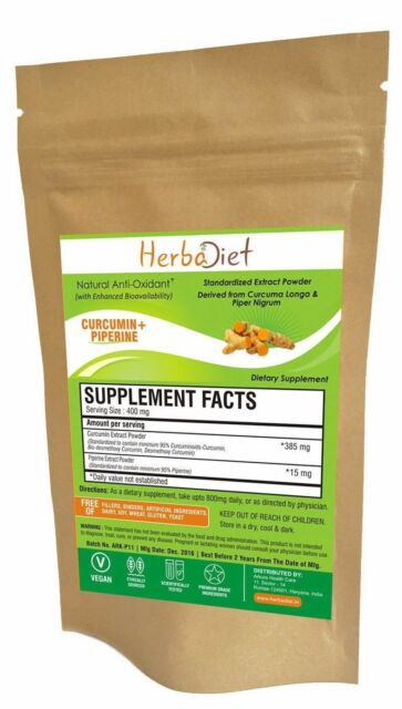 PURE Turmeric Curcumin 95% with BioPerine Extract Powder Supplement Bioavailable