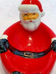 Vintage Christmas Santa Claus Trinket Candy Soap Dish Plate Holiday Decoration