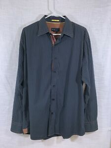 blue-Pronto-Uomo-Men-s-Shirt-XL-Flip-Cuffs-Long-Sleeve