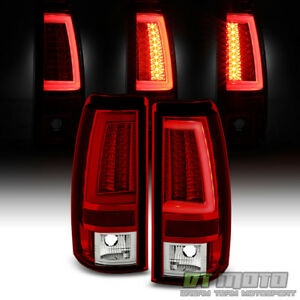 2003-2006 Chevy Silverado 1500 2500 3500 HD Red LED Tube Tail Lights Brake Lamps