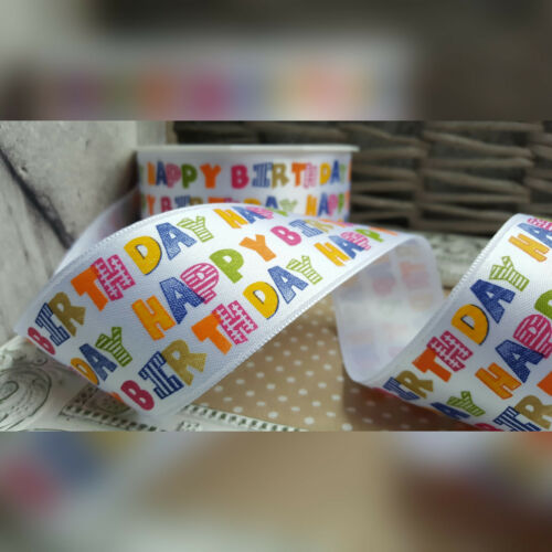Celebrate Cake Party Text Gift Card Present 40mm Happy Birthday Satin Ribbon