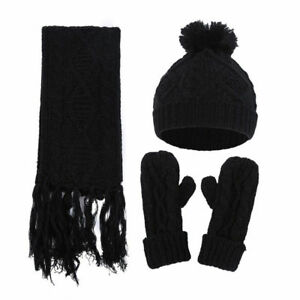 0be2b7c9f74 Womens Ladies Wooly Thick Knit Hat Scarf AND Gloves Set Knitted ...