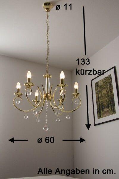 Chandelier 6 luci Lampadario Ottone Lampada da soffitto Cassico Nuovo 44849