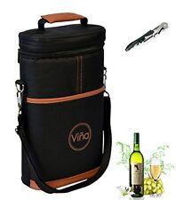 Vina® Wine Travel Carrier & Cooler Bag 2-bottle Wine Champagne Carrying Tote
