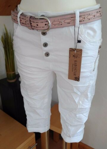 Karostar Big Size Chino Boyfriend Bermuda 3//4 Jeans Hose Italy Style