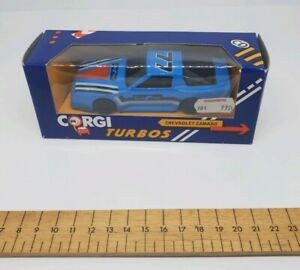 Corgi-Diecast-Modelo-de-Coche-Chevrolet-Camaro-Goodyear-Azul-coche-de-Turbo-1-43-Raro-en-Caja