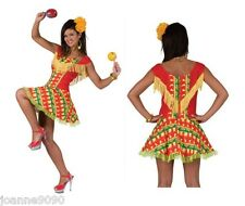 Ladies Mexican Spanish Chilli Pepper Print Flamenco Fancy Dress Costume Outfit