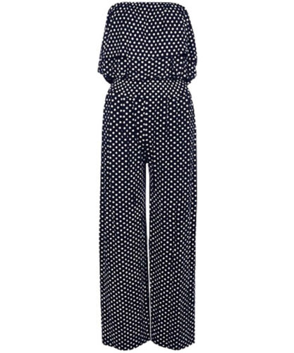 Ladies Womens Bandeau Polka Dot Jumpsuit  Front Frill Wide Leg Palazzo 08-22,ASH
