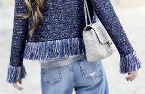 BNWT-Stunning-034-Sold-Out-034-Bloggers-Zara-Purple-Tweed-Fringed-Jacket-SizeL-79