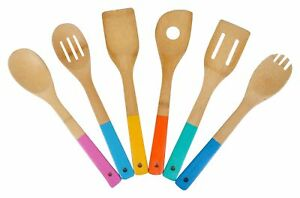 Bambus-Kochzubehor-6tlg-bunt-Kitchen-Tools-Salad-Cutlery-Wooden-Spoon-Spatula