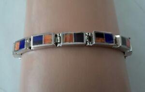 Ray-Tracey-Navajo-Inlay-Link-Bracelet-Sterling-Lapis-Orange-Purple-Shell-24g