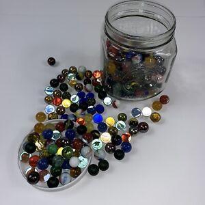 Mason-Jar-full-of-Marbles-Cats-Eyes-Mix