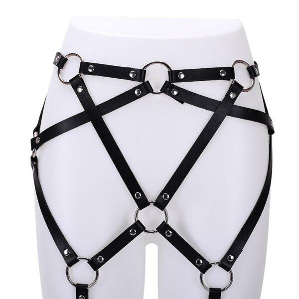 Womens Black Punk Leather Harness Strumpfgürtel Taille Bein Cincher Körper
