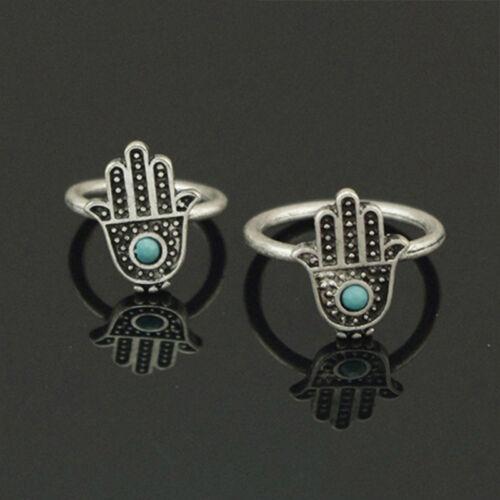 Boho Arabian Ethnic Hamsa Hand Fatima Mid Finger Ring Blue Bead Charm Popular