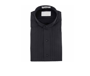 Nice Black  Mandarin Banded Chinese collar Pleated Tuxedo Shirt TUXXMAN