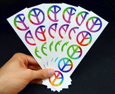 Rainbow Peace Sign Symbol Tattoos, 60's Hippie Party Favors